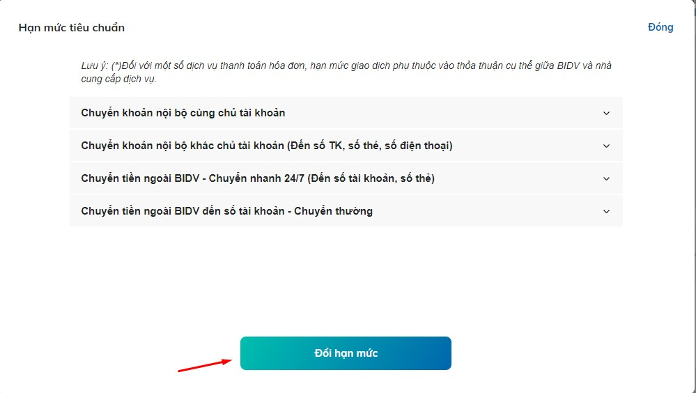 cách thay đổi hạn mức giao dịch chuyển khoản BIDV