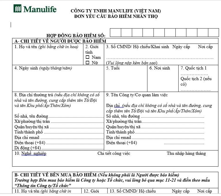 Hồ sơ yêu cầu bảo hiểm Manulife