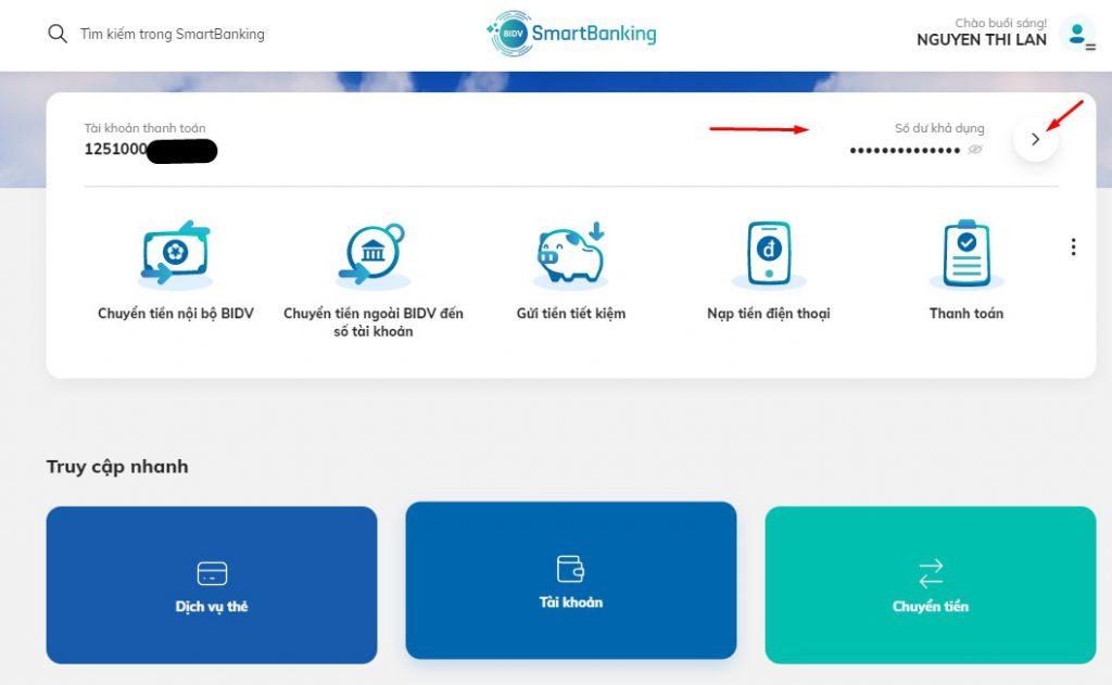 Tra cứu số dư tài khoản BIDV smart banking1