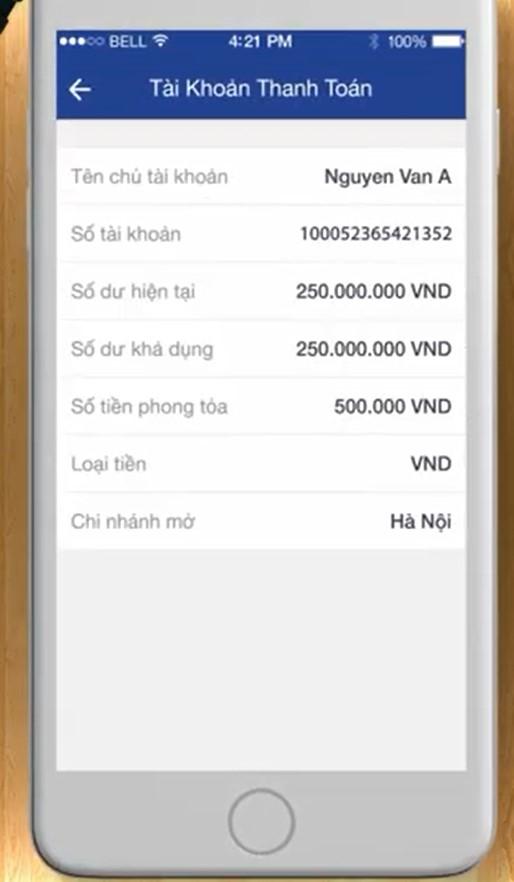 Xem số dư tài khoản qua app BIDV
